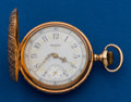 Timepieces:Pocket (post 1900), Elgin 14k, 6 size, Hunters Case, Fancy Dial. ...