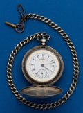 Timepieces:Pocket (pre 1900) , Swiss Turkish, Market Key Wind Plus Nickel Chain. ...