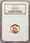 Lincoln Cents, 1951-D 1C MS67 Red NGC....