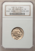 Errors, 1935 5C Buffalo Nickel--Struck 10% Off Center--AU58 NGC....