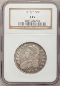 Bust Half Dollars: , 1818/7 50C Small 8 Fine 15 NGC. NGC Census: (1/221). PCGSPopulation (3/120). Numismedia Wsl. Price for problem free NGC/P...