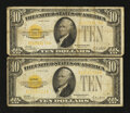 Small Size:Gold Certificates, Fr. 2400 $10 1928 Gold Certificates. Two Examples. Very Good-Fine.. ... (Total: 2 notes)
