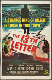 "The 13th Letter (20th Century Fox, 1951). One Sheet (26.75"" X 41""). Film Noir"