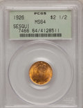 Commemorative Gold: , 1926 $2 1/2 Sesquicentennial MS64 PCGS. PCGS Population(4065/1883). NGC Census: (2527/1017). Mintage: 46,019. NumismediaW...