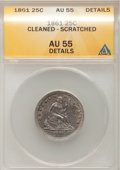 Seated Quarters: , 1861 25C --Cleaned, Scratched--ANACS. AU55 Details. NGC Census:(26/388). PCGS Population (34/383). Mintage: 4,854,600. Numi...