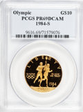 Modern Issues: , 1984-S G$10 Olympic Gold Ten Dollar PR69 Deep Cameo PCGS. PCGSPopulation (1678/106). NGC Census: (9/0). Mintage: 48,551. N...