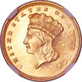 Proof Gold Dollars, 1860 G$1 PR63 Cameo NGC. CAC....