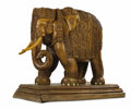 Sculpture, A Carved Wooden Elephant. Unknown maker, Indian . 20th century. Carved wood. 46 inches high x 49 inches wide (116.8 X 124....