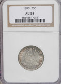 Seated Quarters: , 1890 25C AU58 NGC. NGC Census: (9/148). PCGS Population (5/158).Mintage: 80,000. Numismedia Wsl. Price for NGC/PCGS coin i...