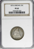 Proof Seated Quarters: , 1874 25C Arrows PR63 NGC. NGC Census: (35/124). PCGS Population(53/90). Mintage: 700. Numismedia Wsl. Price for NGC/PCGS c...