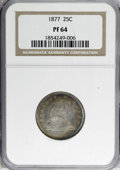 Proof Seated Quarters: , 1877 25C PR64 NGC. NGC Census: (35/31). PCGS Population (32/22).Mintage: 510. Numismedia Wsl. Price for NGC/PCGS coin in P...