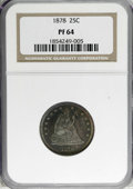 Proof Seated Quarters: , 1878 25C PR64 NGC. NGC Census: (49/31). PCGS Population (39/21).Mintage: 800. Numismedia Wsl. Price for NGC/PCGS coin in P...