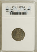 Bust Dimes: , 1832 10C --Cleaned--ANACS. XF40 Details. NGC Census: (3/212). PCGSPopulation (11/212). Mintage: 522,500. Numismedia Wsl. Pr...