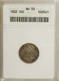 Bust Dimes: , 1832 10C AU50 ANACS. NGC Census: (7/202). PCGS Population (12/187).Mintage: 522,500. Numismedia Wsl. Price for NGC/PCGS co...