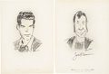 Movie/TV Memorabilia:Autographs and Signed Items, Fred MacMurray and Joe E. Brown Signed Sketches from the BrownDerby.... (Total: 2 Items)