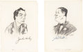 Movie/TV Memorabilia:Autographs and Signed Items, Jack Haley and Jack Oakie Signed Sketches from the Brown Derby....(Total: 2 Items)