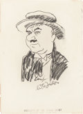 Movie/TV Memorabilia:Autographs and Signed Items, W.C. Fields Signed Sketch from the Brown Derby....
