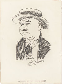 W.C. Fields Signed Sketch from the Brown Derby