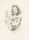 Movie/TV Memorabilia:Autographs and Signed Items, Katharine Hepburn Signed Sketch from the Brown Derby....