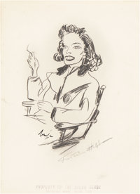 Katharine Hepburn Signed Sketch from the Brown Derby