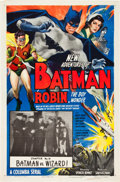 "Movie Posters:Serial, The New Adventures of Batman and Robin (Columbia, 1949). One Sheet(27"" X 41"") Chapter 14 -- "" Batman vs. Wizard."". ..."