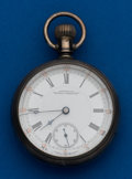 Timepieces:Pocket (post 1900), Waltham, 18 Size, Gold Inlay, Locomotive Case. ...