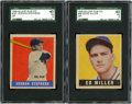 Baseball Cards:Singles (1940-1949), 1948-49 Leaf Baseball SGC-Graded Short Print Pair (2). ...