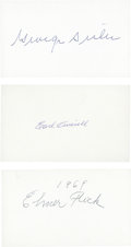Baseball Collectibles:Others, Sisler, Averill and Flick Signed Index Cards Lot of 3....