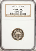 Proof Shield Nickels, 1867 5C No Rays PR65 Cameo NGC....