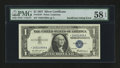 Error Notes:Missing Face Printing (<100%), Fr. 1619* $1 1957 Silver Certificate. PMG Choice About Unc 58 EPQ.....