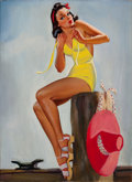 Pin-up and Glamour Art, AMERICAN ARTIST (20th Century). At the Pier. Oil on canvas.26 x 19 in.. Not signed. ...