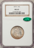 Seated Quarters, 1875 25C MS65 NGC. CAC....