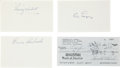 Baseball Collectibles:Others, Catching Legends Signed Index Cards and Check Lot of 4....