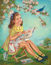 LAURETTE STROHM (American, 20th Century) Young Girl Painting a Bluebird Oil on canvas 33 x 26 in