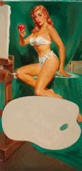 Pin-up and Glamour Art, LU KIMMEL (American, 1905-1973). The Apple of His Eye, calendarillustration, c. 1948. Oil on canvas. 39 x 20 in.. Signe...