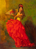 Pin-up and Glamour Art, LUKE DOHENY (American, 20th Century). Spanish Dancer. Oil oncanvas. 34 x 25 in.. Signed lower left. ...