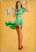 Pin-up and Glamour Art, AMERICAN ARTIST (20th Century). Pin-Up at the Mailbox. Oilcanvas. 28 x 20 in.. Not signed. ...