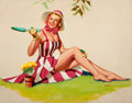 Pin-up and Glamour Art, PETER DARRO (American, 20th Century). Gardening. Oil oncanvas. 23.5 x 30 in.. Signed lower right. ...