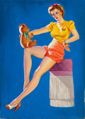 Pin-up and Glamour Art, AMERICAN ARTIST (20th Century). Talking to Teddy. Oil oncanvas. 28 x 20 in.. Not signed. ...