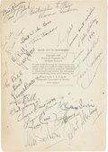 Movie/TV Memorabilia:Autographs and Signed Items, Book Page Signed by Hollywood Notables, including Ronald Reagan. ...