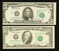 Error Notes:Miscellaneous Errors, Fr. 1974-H $5 1977 Federal Reserve Note. About Uncirculated.. Fr. 2028-G $10 1988A Federal Reserve Note. Extremely Fine.... (Total: 2 notes)