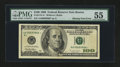 Error Notes:Blank Reverse (100%), Fr. 2175-A* $100 1996 Federal Reserve Note. PMG About Uncirculated 55.. ...