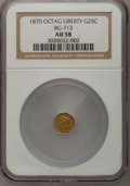 California Fractional Gold: , 1870 25C Liberty Octagonal 25 Cents, BG-713, R.4, AU58 NGC. NGCCensus: (1/9). PCGS Population (2/68). (#10540)...