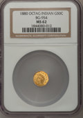 California Fractional Gold: , 1880 50C Indian Octagonal 50 Cents, BG-954, Low R.4, MS62 NGC. NGCCensus: (5/14). PCGS Population (21/70). (#10812)...
