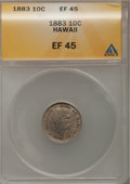 Coins of Hawaii: , 1883 10C Hawaii Ten Cents XF45 ANACS. NGC Census: (25/201). PCGS Population (56/287). Mintage: 250,000. (#10979)...