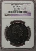 Coins of Hawaii: , 1883 $1 Hawaii Dollar--Damaged--NGC Details. XF. NGC Census:(39/209). PCGS Population (110/362). Mintage: 500,000. (#1099...