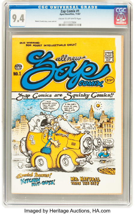 Zap Comix #1 Plymell First Printing (Apex Novelties, 1967) CGC NM 9.4 Cream to off-white pages....
