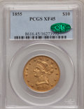 Liberty Eagles, 1855 $10 XF45 PCGS. CAC....
