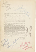 Movie/TV Memorabilia:Autographs and Signed Items, Book Page Signed by Hollywood Notables, Including Howard Hughes andRuby Keeler. ...