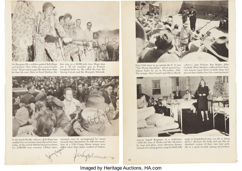 Bob Hope and Oliver Hardy Autographed Book Page     Movie/TV